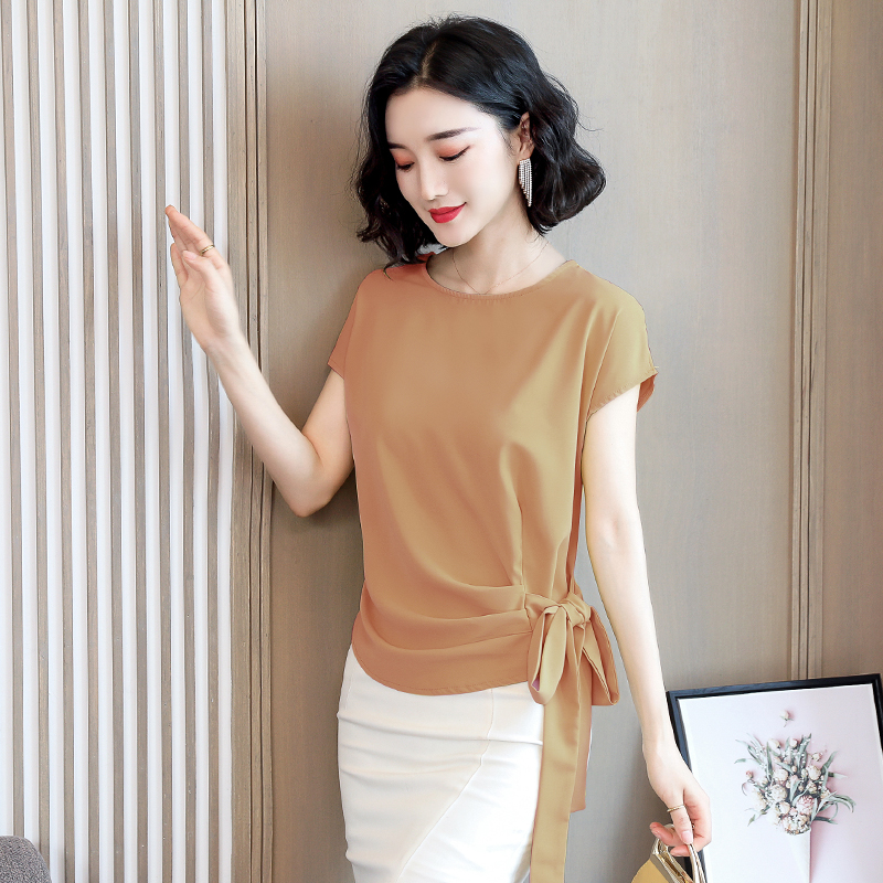 2021 Blusas Mujer De Moda Summer Silk Short-Sleeved Women's Blouse And Tops Office Lady Plus Size Solid Bow Shirts Women 9899 5