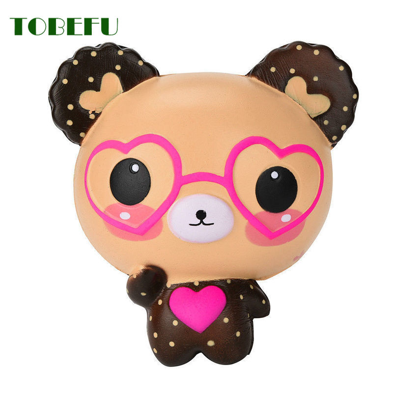 TOBEFU Stress Reliever Scented Squishy Cute Glasses Bear Squishies Charm Super Slow Rising Squeeze Toys