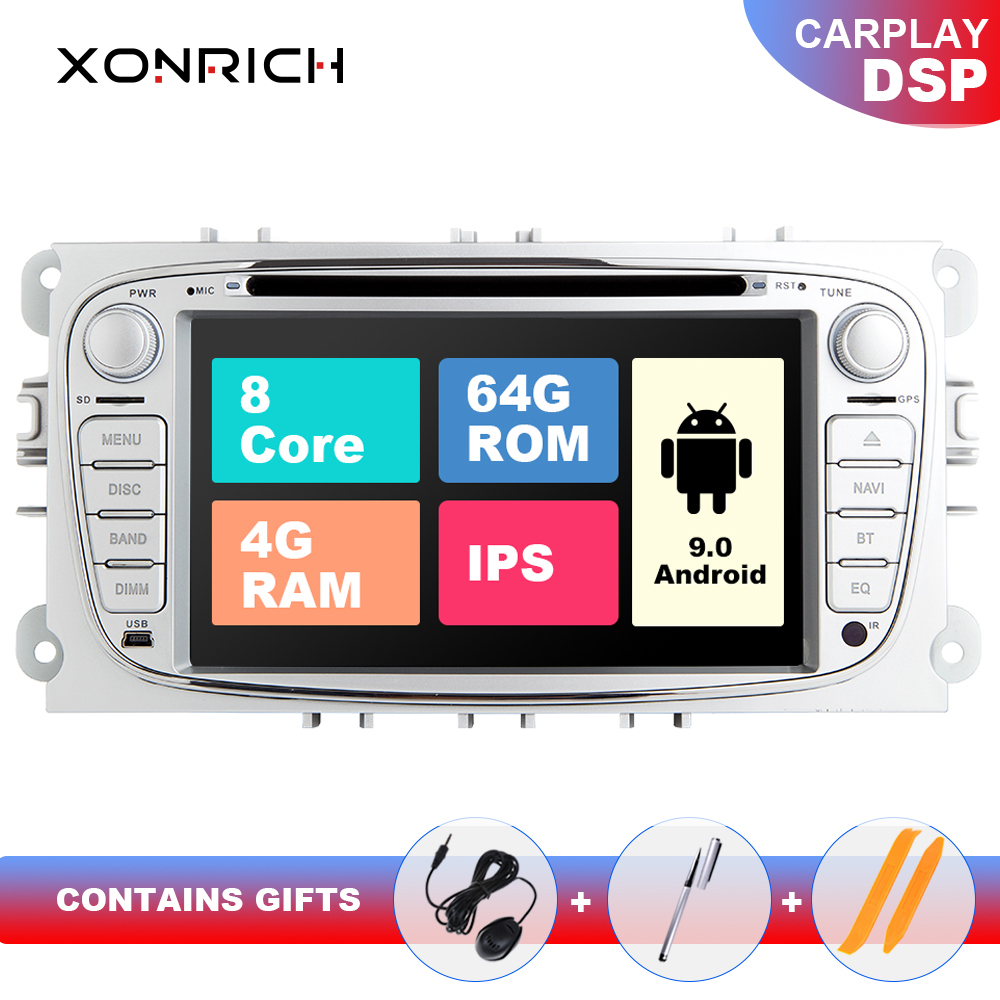4GB 64G 2 din Android 9 Car Radio Multimedia For <font><b>Ford</b></font> Focus 2 3 mk2 <font><b>Mondeo</b></font> 4 Kuga Fiesta TransitConnect S-MAXC-MAX 8 Core IPSDSP image