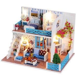 Image 3 - FAI DA TE Modello di Casa di Bambola In Miniatura Casa Delle Bambole con Mobili LED 3D Casa In Legno Giocattoli Per I Bambini Regalo di Artigianato Fatti A Mano
