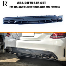купить C63s Style 4 Outlet PP Rear Diffuser with Exhaust Tips for Benz W205 S205 4Door C180 C200 C300 C43 C63 with AMG Package 15 - 22 дешево