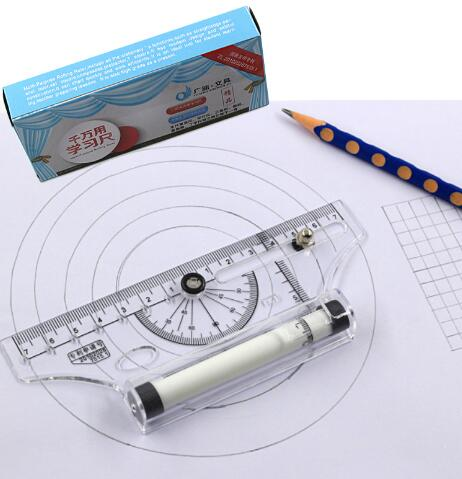 Pulley Centering Multi-purpose Rolling Ruler Drawing Tool Parallel Compass Ruler School Stationery Protractor Curve Triangle