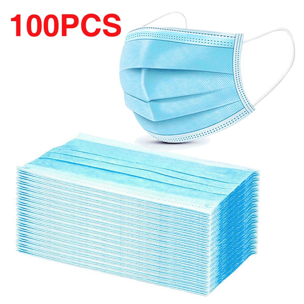 100PCS Disposable Face Mask Respirator For Kids Adult Multi Layer Filter Pad  Prevention Safety Protective Mouth Masks