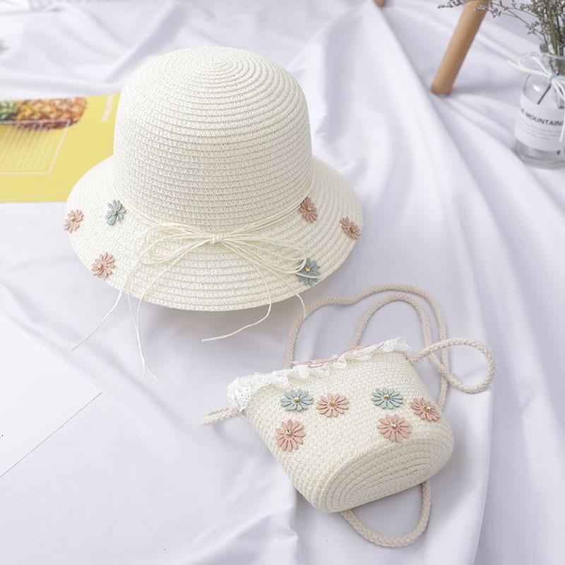 Girls Kids Beach Bag Bucket Breathable Cap Straw  Bag Sun Hat+Shoulder Handbag Bags Set   /BY
