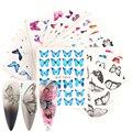 С напряжением 12-30 шт. Набор наклеек для ногтей, для нанесения с помощью клея обувь с украшениями в виде цветков и бабочек, переводятся с помощ...