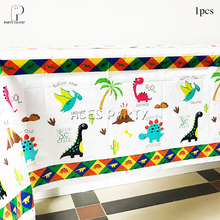 Boys Kids 2019 New Dino Theme Tablecloth Table Cover Birthday Party Tableware Balloon Candy Box Flag Plate Cup Supplies