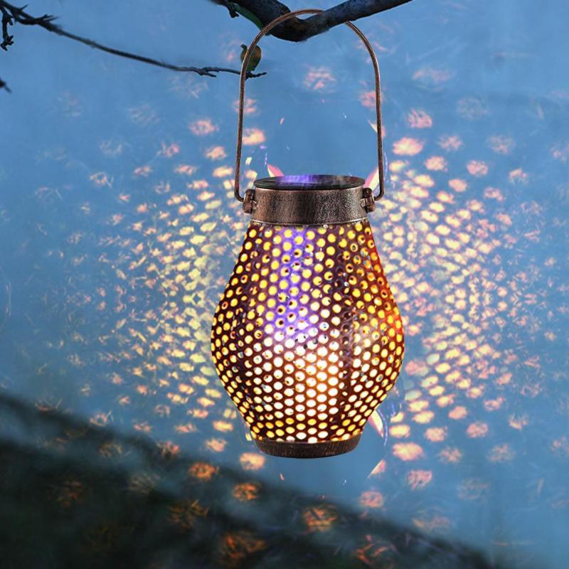 Solar LED Projector Iron Pot Shape Craft Light Garden Lighting Hanging Light Garden Lawn Light Holiday Lights
