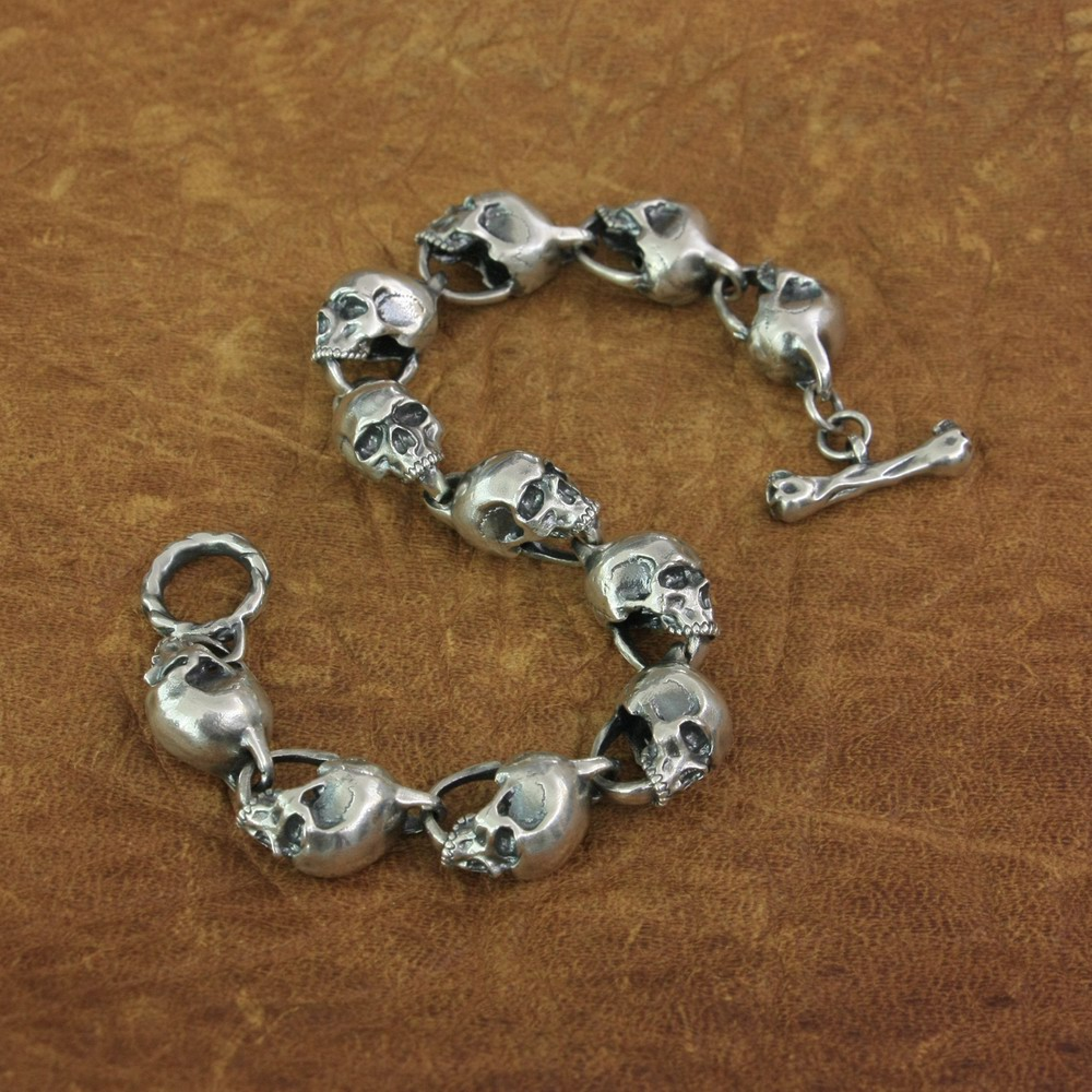 Details Skulls Chain 925 Sterling Silver Mens Biker Rock Punk Bracelet TA169A