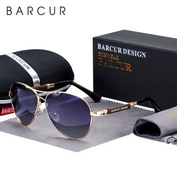 BARCUR Design Titanium Alloy Sunglasses Polarized Men's Sun Glasses Women Pilot Gradient Eyewear Mirror Shades Oculos De Sol 1