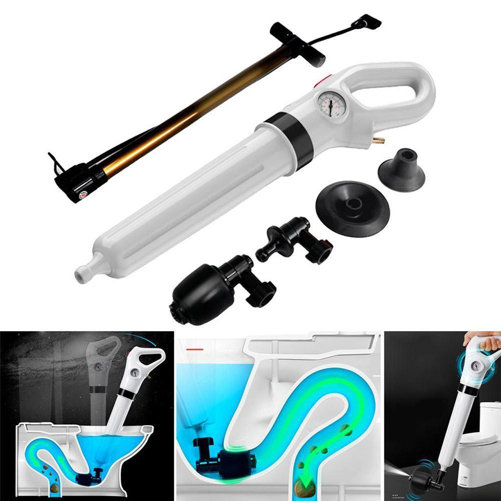 1 Set White High Pressure Pump Cleaner Dredge Toilet Plunger Air Drain Blaster Sink Pipe Clogged Remover Bathroom Pipe Bathtub