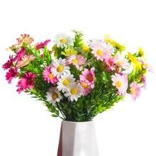 Flores artificiais barato amarelo margarida de seda vaso para decoração de casa acessórios casamento decorativo flor natal outono decoração