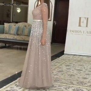 Image 2 - Dubaj różowe srebrne długie rękawy cekiny suknie wieczorowe 2020 dekolt w serek seksowna linia Sparkle formalna sukienka Serene Hill LA70314