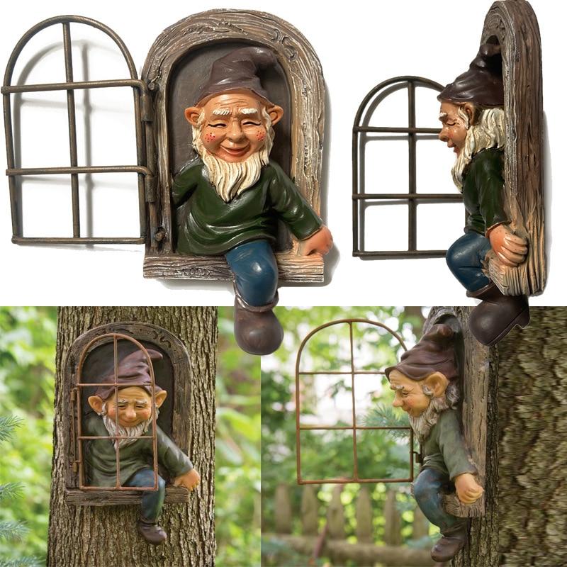 15cm Resin Naughty Garden Gnome Ornament Garden Decoration Statue White Old Man Fairy Garden Accessories Elves Desk Decor Gift