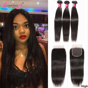 Longqi H Straight Hair Bundles with Closure Brazilian Hair Weave Bundles with Closure Remy Human Hair 3 Bundles with Closure - DISCOUNT ITEM  38% OFF All Category