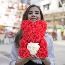2020 Cheap Red Bear Rose Teddy Bear Rose Flower Artificial Decoration Birthday Christmas Gifts for Women Valentines Gift