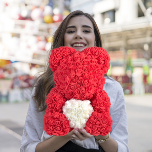 Image 1 - 2020 Cheap Red Bear Rose Teddy Bear Rose Flower Artificial Decoration Birthday Christmas Gifts for Women Valentines Gift