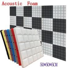 8 цветов, 4 шт., 50x50x5 см, студийная акустическая Звукоизоляционная пена, Звукопоглощающая Панель, плитка, клиновидная Защитная губка