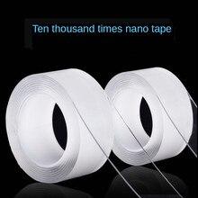5m nano fita mágica dupla face transparente notrace reutilizável impermeável fita adesiva casa limpa