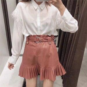 Image 3 - BONJEAN jupe plissée en cuir PU pour femmes, jupe plissée avec ceinture, taille haute, Slim, tendance, hiver