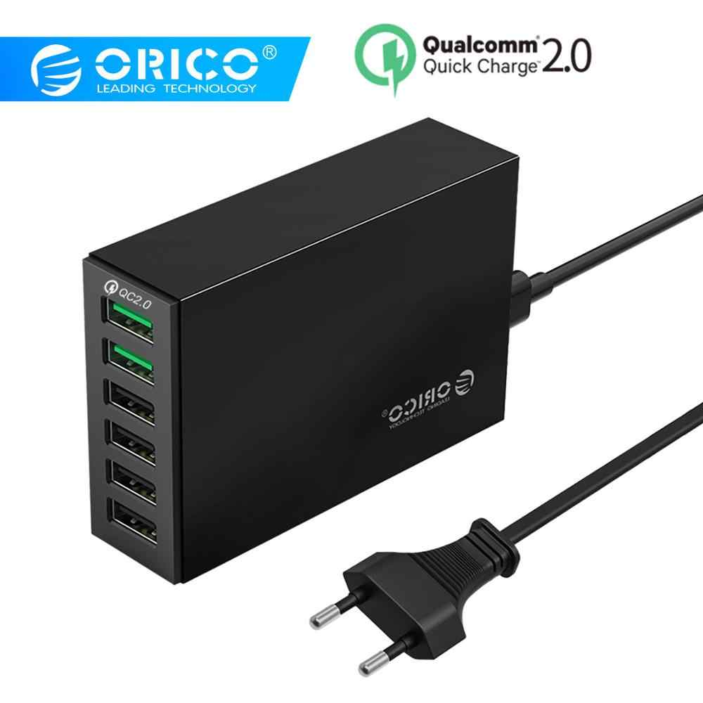 Orico 6 Port Smart Desktop Charger 4x5V2. 4A Port dan 2x QC2.0 Cepat USB Charger Ponsel Charger untuk Samsung Huawei iPhone