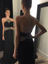 Женское шифоновое платье с лямкой на шее Черное длинное вечернее