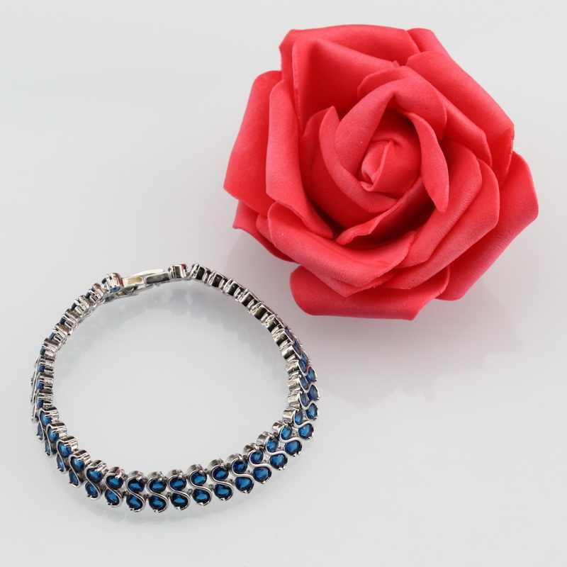 925 prata esterlina aaa + qualidade pulseira azul zircônia cúbica jóias de noiva para o casamento feminino acessórios frete grátis