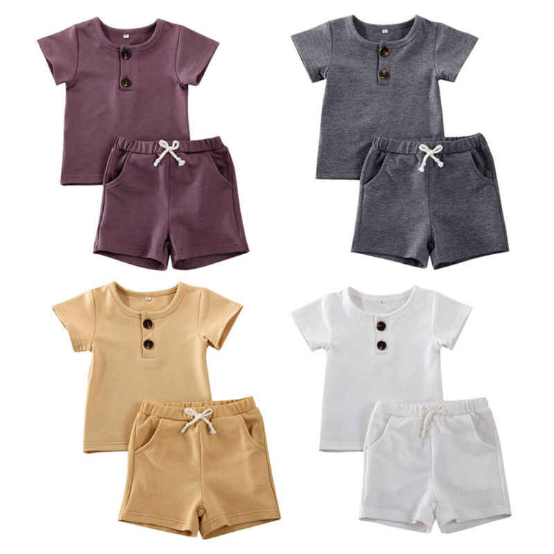 0-24M Newborn Toddler Kids Baby Boy Clothes Sets Solid Button T-shirt Tops+Short Pants 2PCS Outfits Clothes Set