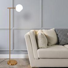 Nórdicos Led-Lámpara de piso para vivir habitación vidrio luz Fixtrues Vintage interior decoración casa iluminación cobre, hierro E27 bombilla