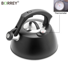 BORREY Stainless Steel Whistling Kettle Temperature Display Kettle Tea Coffee Pot Kitchen Gas Stove Induction Cooker Kettle 2.5L