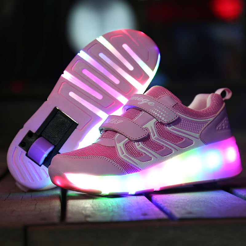 RISRICH Kids LED Tennis Shoes Glowing Luminous Light Up Sneakers With On Wheels Kids Baby Roller Skate Shoes For Boys Girls