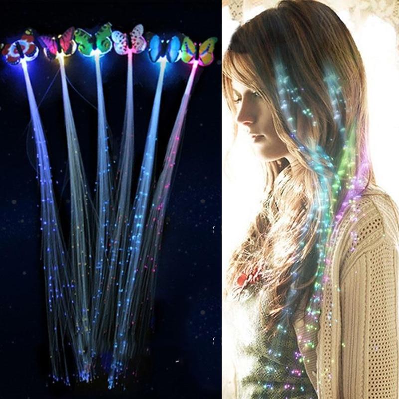 1Pc/2Pcs/5Pcs LED Flashing Hair Braid Glowing Luminescent Hairpin Hair Ornament Girls LED Novetly Toys New Year Party Christmas