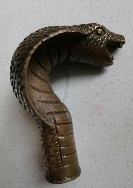Canne à tête en bronze serpent sculpté   Cadeaux, béquilles tête de sculpture, canne leader