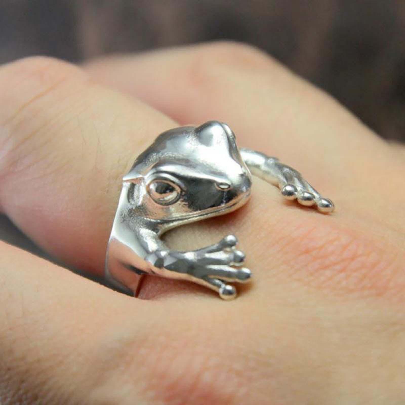 Женское кольцо в стиле ретро, регулируемое кольцо в виде лягушки, ювелирное изделие в готическом стиле, креативный дизайн