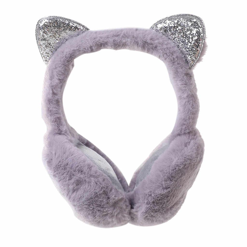 2020 karikatür rüzgar geçirmez kadın kız ayarlanabilir ve tasarım kulaklar kadınlar kış sıcak kedi rahat sonbahar payetli katı Earmuffs