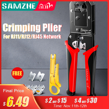 SAMZHE Crimping Plier Wire Tracker RJ11/12/45 Cable Crimper Stripping for 6P/8P Ethernet and Telephone Cable Making