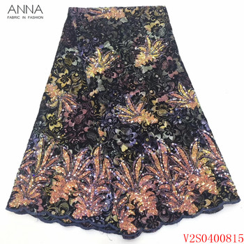 Anna nigerian velvet lace fabric 2020 high quality embroidered fabrics 5 yards/piece african sequins laces for garment sewing