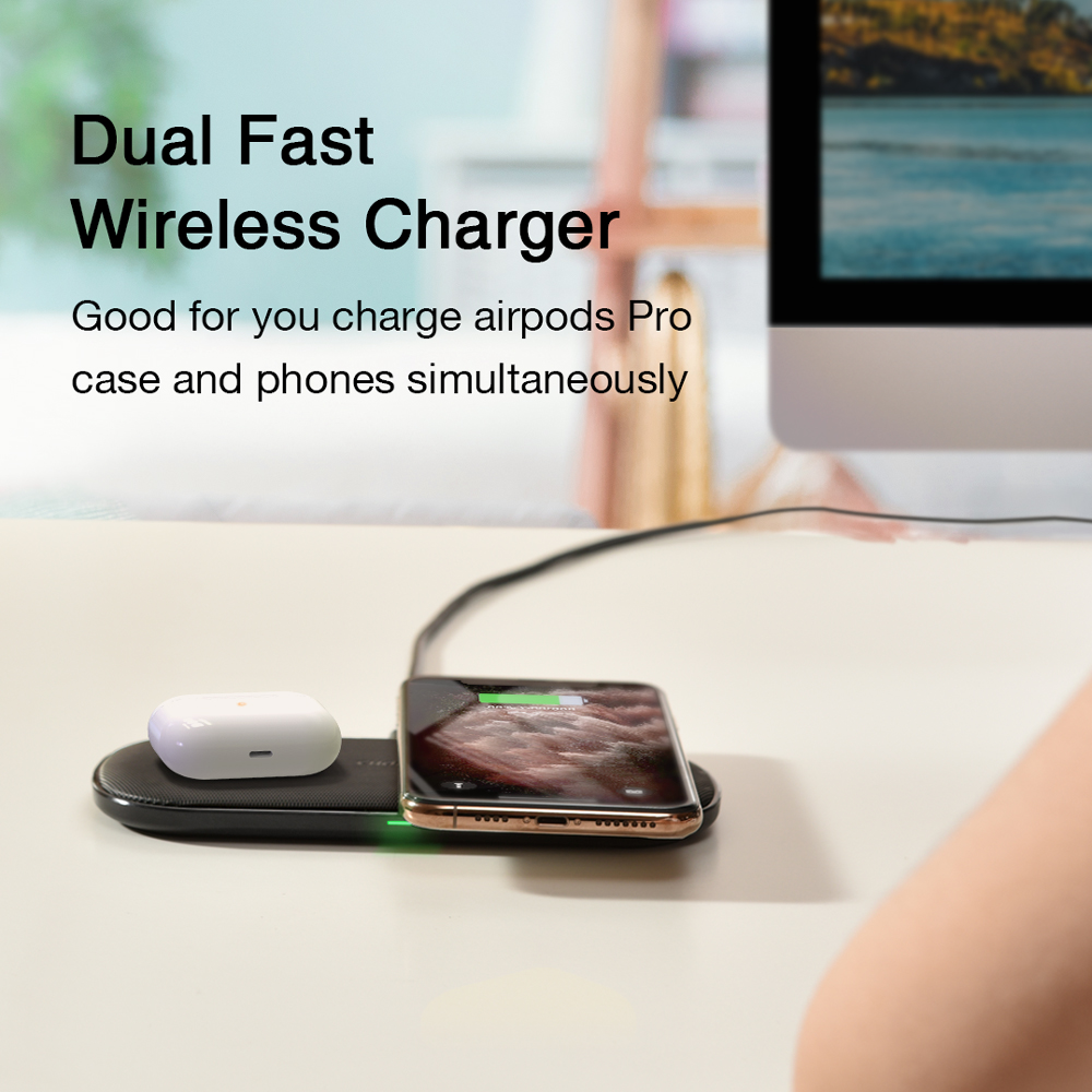Image 4 - CHOETECH Qi Dual Wireless Charger 15W 5 Coils for iPhone 11 X Max 8 Fast Wireless Charging Pad for Samsung S10 S9 AirPods 2 ProWireless Chargers   -