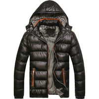 Autumn and Winter Wear European and American Style Slim Detachable Hooded Tide Men's Thick Cotton Coat Jacket Fashion Warmth