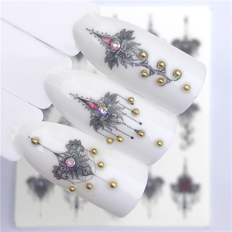 Yzw New Style Nail Decals Foreign Trade Hot Selling Necklace Chest Paste Watermark Nail Sticker Accessories Nail Sticker