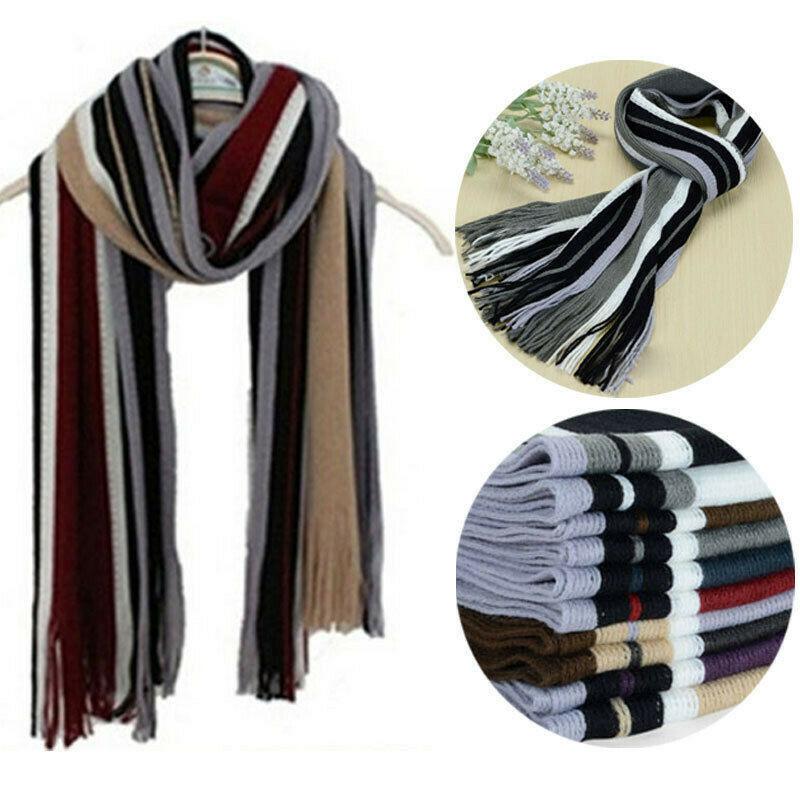 Men Scarf Classic Warm Winter Cashmere Shawl Strip Fringe Tassel Long Soft Striped Wraps