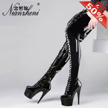 Сапоги выше колена на высоком каблуке 17 см пикантная обувь