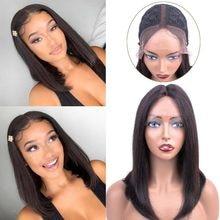 Malayo Color Chocolate medio malla con división peluca pelucas de cabello humano recto pelucas para mujeres de cabello humano Pre-arrancado Bob peluca no remy