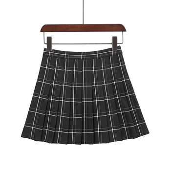 PEONFLY Sweet Women Pleated Skirt Fashion Plaid A-Line Mini High Waist Chic Skirt Kawaii Summer Casual Ladies Plaid Skirt - type2 black, XS