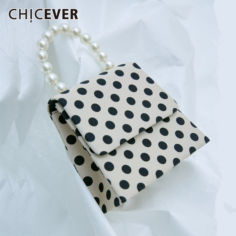 CHICEVER Elegant Print Polka Dot Hit Color Bag For Women Patchwork Pearl Bags Female Casual Handbag Accessories Fashion New 2020
