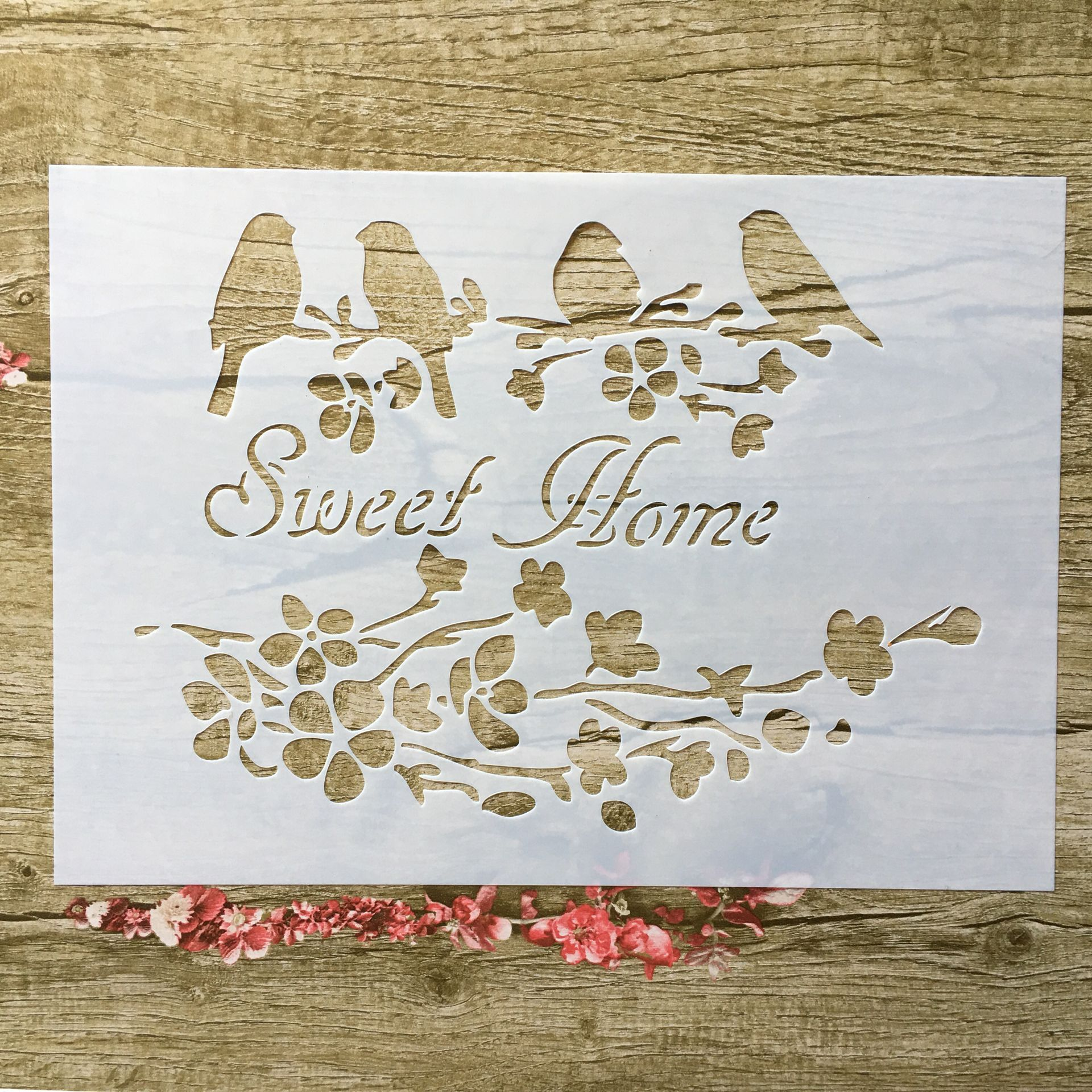 A4 29 * 21cm Sweet Home Bird DIY Stencils Wall Painting Scrapbook Coloring Embossing Album Decorative Paper Card Template