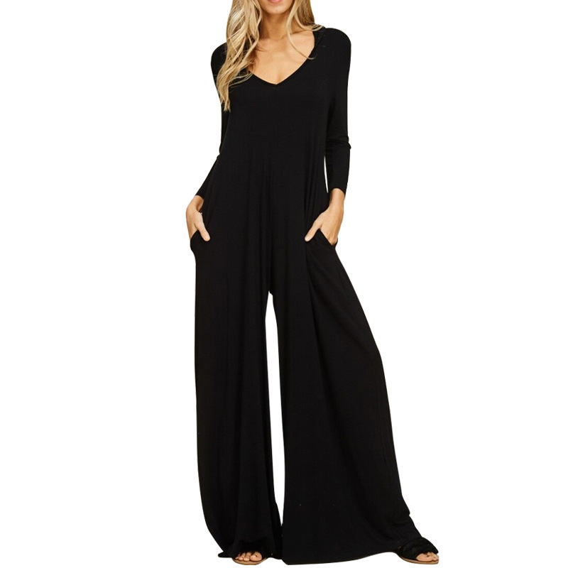 Women   Jumpsuit   V-Neck Long Sleeve Wide Leg Pocket Solid Color 2019 Fashion Loose   jumpsuits
