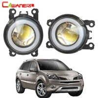 Cawanerl For Renault Koleos 2008-2015 Car Styling LED Fog Light COB Angel Eye Daytime Running Light H11 3000LM 12V