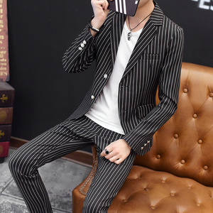Image 3 - European Station New Polyester Mens Small Suit Suit Youth Casual Business Slim Trend Mens Plaid Suit Two piece Men Red Blazer