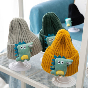 Winter Cartoon Dinosaur Baby Hat Cap Warm Knitted Baby Girl Boy Hat Beanie Elastic Kids Hat Children Cap Bonnet