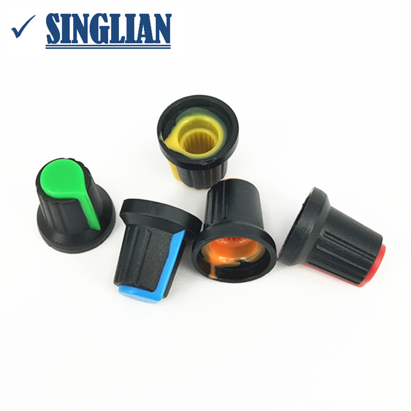 10pcs/lot Potentiometer Knob Power Amplifier Mixer Switch Knob Switch Cap Inside Diameter 6mm Outside Diameter 15mm * High 17mm